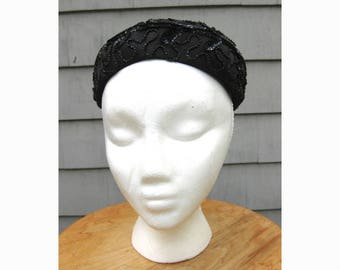 Sparkly beaded black satin pillbox hat, early 1960s or late 1950s