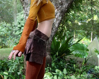 Size S/M Bamboo Terry Lycra Cropped Pixie Pull Over
