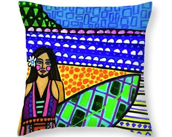Surfer Girl Art Pillow -  Surfing Decor Surf Beach Surboard North Shore Hawaii Artist Heather Galler Oahu