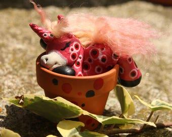 Nelly, the flowerpot unicorn. Handmade OOAK sculpture, fantasy figurine, polymer clay, house plant decoration, horses, appaloosa, boho