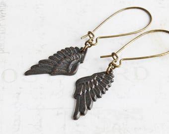 Rustic Black Wing Earrings on Antiqued Brass Hooks