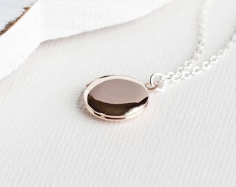 Round Rose Gold Plated Locket Pendant Necklace on Silver Plated Chain