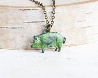 Small Pig Necklace, Aged Patina Pendant on Antiqued Brass Chain, Pig Charm Necklace, Animal Lover Jewelry, Country Jewelry
