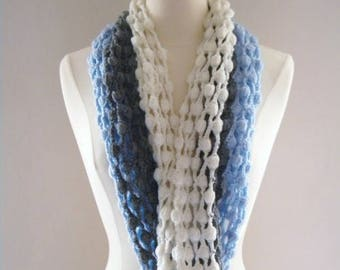 Crochet Scarf Infinity Scarf Catch Me inBlue Gray and White Original Design