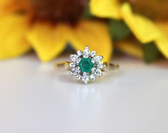 Emerald ring, floral emerald ring, snow flake halo white gold ring, 2 tone ring