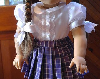 1940s Purple Plaid Pleated Skirt Molly or Emily fits 18 inch doll