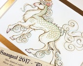 The Kirin of Terratoff - Smaugust 2017 Limited Edition Double Matted Dragon Print with Story Scroll
