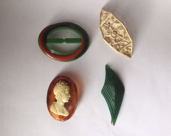 Early plastic and celluloid vintage lot of hat pin / flash , brooch x 2 , and belt buckle - vintage c. 1920s - 1940s