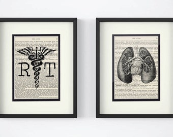 Respiratory Therapy - Set of 2 Prints - RT, Lungs over Vintage Medical Book Pages - RT Gift,  Respiratory Therapist Gift, RT Graduation Gift