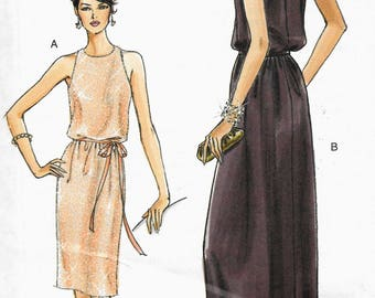 Vogue 8241 Easy Evening Formal Sleeveless Dress Pullover Size 14, 16, 18, 20 Uncut Sewing Pattern