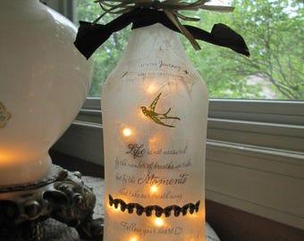 Wine Bottle Lamp,  Inspirational, sister gift, friend gift, family, wine bottle lights, wine bottles, glass lighted bottles, lamps