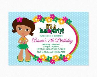 Luau Birthday Party Invitation, Luau Invitation, Hula Girl, Hawaiian, African American, Personalized, Printable or Printed