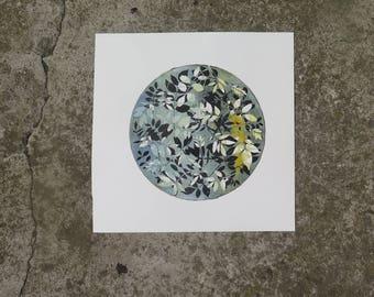 Small botanical monotype print 32 x 32cm Original nature art Yellow & muted sage green Woodland Ash Leaves Stef Mitchell Boho interior decor