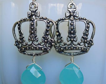 Aqua Crowns // Silver Plated Crown Earrings with Blue Chalcedony Briolette Drops, Shabby Chic Assemblage French Bohemian Royal Maltese Cross