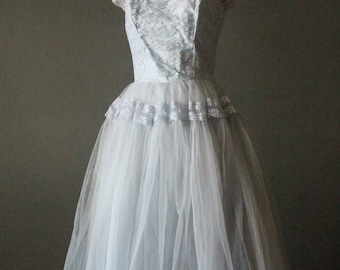 Vintage 50's Baby Blue Pastel Lace and Tulle Prom Dress Formal by Emma Domb of California