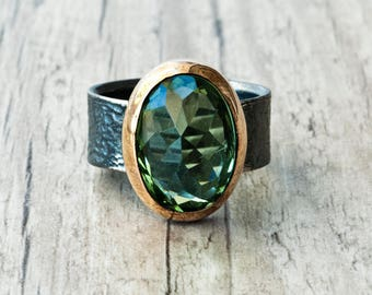Green Peridot Oval Ring, Sterling Silver and Gold Green Gemstone Boho Ring, Natural Peridot Jewelry, Cocktail Ring, August Birthstone Ring
