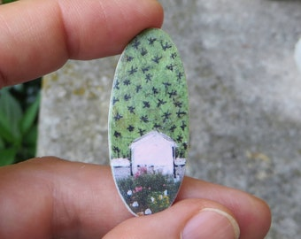 One-of-a kind Collage Coin-Art-Gift-Farmhouse Fund.  Little pink houses