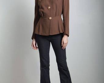 vintage 40s 1940s collarless jacket blazer tailored pintuck brown LARGE L