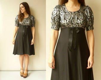 Vintage 1970's Metallic Brocade Black & Silver Bohemian Party Dress Size XS