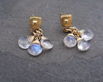 Moonstone earrings, dainty dangle, blue flash, faceted moonstone, briolette drops, cluster dangle, square studs, genuine moonstone, handmade