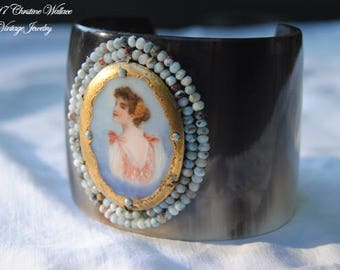 ABBELINE--Antique Hand Painted Porcelain Lady Larimar Stone Horn Cuff BRACELET