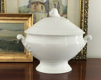White Ironstone Tureen French Country Farmhouse Decor White Decor Soup Tureen