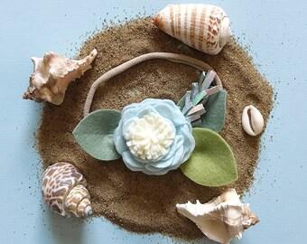 Seashell // Single Flower Headband or Alligator Clip, Carnation Felt Flower Accessories