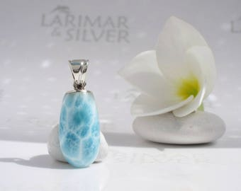 Larimar pendant by Larimarandsilver, Mermaid Talisman 1  aqua Larimar drop turtleback water blue pendant clear water element crystal pendant
