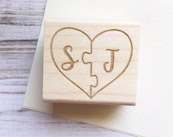 Puzzle Piece Wedding Stamp Initials Heart Shape - Custom Wedding Stamp