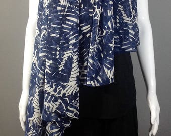 Indigo Blue and White Silk Chiffon Oversized Scarf