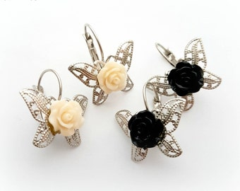 Rose butterfly earrings, whimsical jewelry, gothic earrings