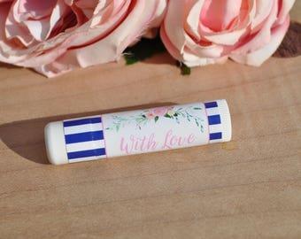 Wedding Lip Balm Favor Labels, Bridal Shower Lip Balm Favors, Bachelorette Party, Engagement Party Favors, Blue Floral - Set of 24 Labels