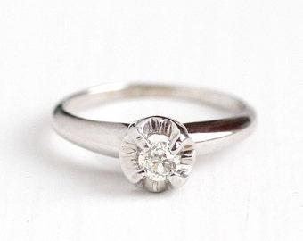 Sale - Vintage 14K White Gold 1/5 Carat Old European Solitaire Diamond Engagement Ring - 1950s Size 6 Wedding Fine Round Illusion Jewelry