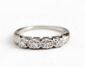 Sale - Vintage Diamond Band - 1950s 14k White Gold .24 CTW Genuine Diamond Wedding Ring - Size 4 3/4 Mid Century Dated 1951 Stacking Jewelry