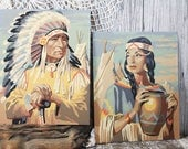 2 Vintage paint-by-number paintings American Indians, pbn, Native Americans, Southwest Decor, Chief and Squaw