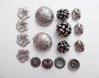 16 Silver Buttons, Silvertone Mixed Lot