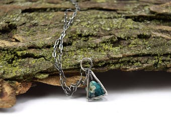 Raw Dioptase Necklace in Sterling Silver - Geometric Crystal Cage Necklace - Raw Stone Necklace - Dioptase Jewelry - Dioptase Crystal B