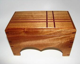 "Adorable Small Jewelry Keepsake Box. Exotic Inlaid Mahogany Keepsake Box. 8.25"" x 4.75"" x 5"". Handcrafted Wooden Memory Box. Jewelry Box"