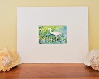 Beach art work, snowy egret or heron art, watercolor giclee print, beach cottage decor, shore bird art, matted, 11x14 white matte