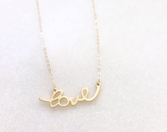 Love Necklace - Dainty Gold Necklace, Love Charm Necklace, Layering Necklace, Love Script Necklace, Delicate Jewelry