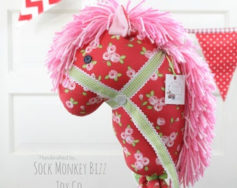 Kid's Valentine's Day Stick Horse, Handmade Ride-On Hobby Horse Toy, Cottage Rose in Red