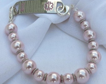 Interchangeable Medical Alert ID Tag or Watch Bracelet in Blush Pink Color Pink