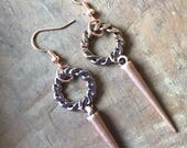 Copper Spike Earrings With Hoop, Copper Spike Earrings, Edgy Copper Drop Earrings, Funky Copper Rose Gold Earrings