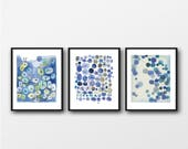 Set of 3 Watercolor Prints, Blue wall Art, Living Room Decor, Abstract Modern Art, Set of 3 Watercolor Prints