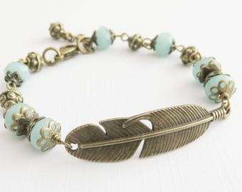 Blue feather bracelet, bohemian beaded bracelet, feather jewelry, boho chic jewelry, gift for her, wife gift