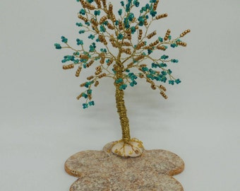 Wire tree sculpture, blue beaded tree,bonsai tree of life ,crystal tree,tree sculpture feng shui tree ,blue & gold tree,office decor
