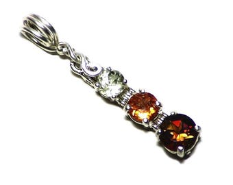 Orange Tourmaline Yellow Sillimanite and Mandarin Garnet Pendant in Sterling Silver (1.8 tctw) Multi Gemstone Necklace, Gems Jewelry