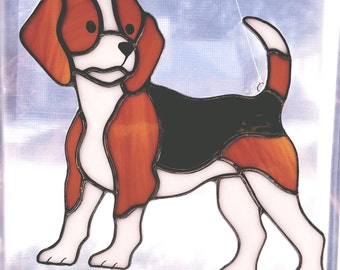 Stained glass beagle puppy dog