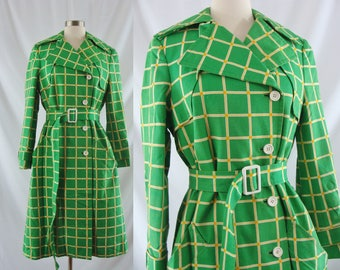 SALE Vintage Sixties Trench Coat - 1960s Green Plaid Belted Trench Coat - 60s Mod Jacket Medium/Large