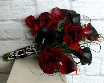 Black rose Wedding bouquet, Red Black calla lily Bridal bouquet, Silk wedding flowers, Damask wedding
